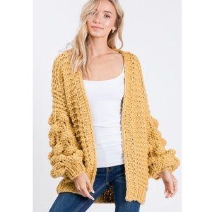 Wishlist Mustard Yellow Pom Pom Knit Cardigan